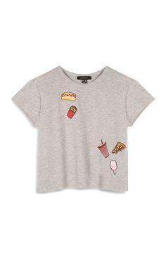 Primark - Graues T-Shirt mit Pizzamotiv