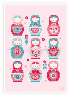 Girl nursery print prints babushka matryoshka by TheInkHouse