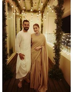 Anushka Sharma and Virat Kohli Diwali picture Couple picture Anushka Sharma Saree, Anushka Sharma And Virat, Virat Kohli And Anushka, Indian Wedding Couple, Indian Wedding Outfits, Indian Bridal, Indian Outfits, Indian Weddings, Bollywood Couples