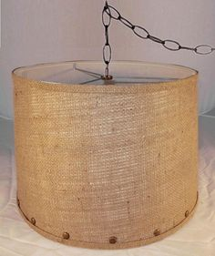 Wicker lamp shades have rich soft luxury fabric linings swag lamps burlap swag lamp with antique brass studs trim hanging lamp shade pendant light 13x15 aloadofball Choice Image