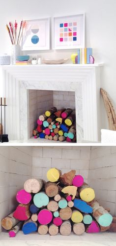 Summer interiors, colourful fireplace, DIY, paint, log fire