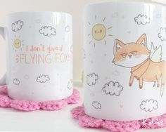 ♡ D E S C R I P T I O N ♡  I Dont Give a Flying Fox - Do you love foxes, or know someone that does? This funny mug will put a smile on your face; featuring my original fox illustration (And cheeky little sun) that you guys helped me pick! These 11oz White Glossy Durham mugs are Hand Printed in my little studio using a sublimination method. The Design is protected with a glossy Ceramic Glaze. -----------------------------------------------------  ♡ S I Z E S ♡  My Mugs are roughly 9.5cm Tall…