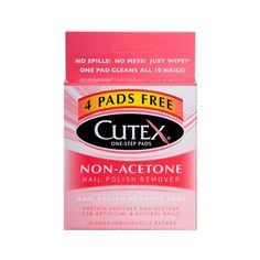 Non-Acetone Formula specially formulated to quickly and gently remove nail polish from artificial nails. Cutex's Nail Polish Remover Pads are the quickest, most effective option for removing nail polish, as well as conditioning nails and cuticles in one step. The patented formula is designed to remove polish faster. Each felt pad is individually wrapped and removes polish from ten nails, fingers and toes. Contains Bitrex, ingestion detergent.