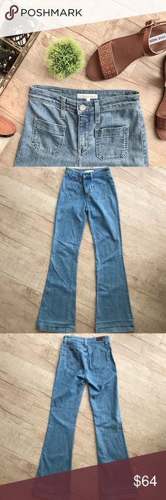 """Joie Enchante Flare * super cute wide flare jeans * two front pocket detail * waist (laid flat, on one side) - 13"""" * inseam - 33"""" * total length - 44"""" * 92% Cotton, 7% Polyester, 1% Spandex * please note that the care tag has been removed * one very small """"pull"""" on the front pocket (as pictured)  * otherwise in GOOD condition! Joie Jeans Flare & Wide Leg"""