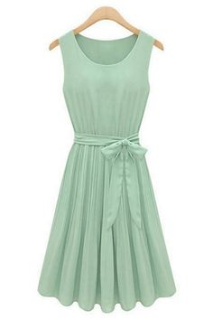 summer-pleated-belted-chiffon-dress