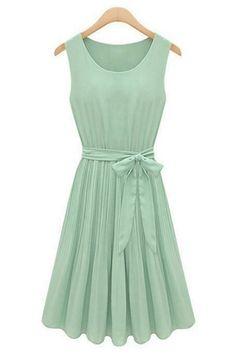 summer-pleated-belted-chiffon-dress
