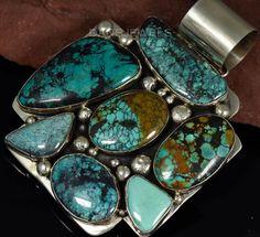 Huge+Vintage+Old+Pawn+Navajo+Multi+Turquoise+Gemstone+Sterling+Silver+Pendant+