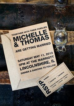 Kraft Brown & Black Simple Wedding Invite by SparklesandCrafts