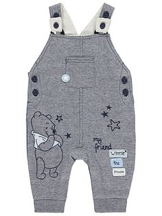 Dress your little Disney Darling for a day of play, with these textured jersey dungarees embroidered with Winnie the Pooh. A striped bodysuit completes the o...