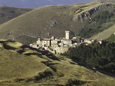 The view of Santo Stefano di Sessanio (Abruzzo, Italy), getting down from the upland of Campo Imperatore