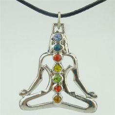 rhinestone Alloy Dull Silver Chakra Pendant