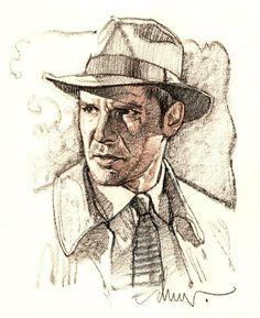 Indiana Jones sketch by legendary poster artist Drew Struzan. Indiana Jones Films, Henry Jones Jr, Animation, Pulp Fiction, Art Images, Comic Art, Illustrators, Book Art, Sketches