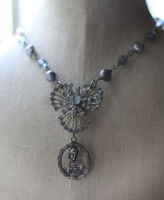 Old Blue  vintage assemblage necklace crownedbygrace.etsy.com