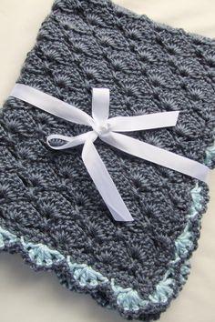Baby Boy Blankets - Crochet Baby Boy Blankets - Denim Blue Panel Shells Stroller/Travel/Car seat blanket. $38.99, via Etsy.