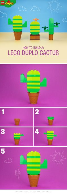 Use LEGO DUPLO bricks to build this prickly cactus 🌵. Complete the set by building the other two as well which you can find on our LEGO DUPLO board