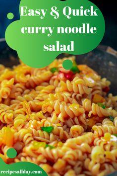 Yummy Pasta Recipes, Pasta Salad Recipes, Cooking Recipes, Healthy Recipes, Salad Dishes, Healthy Food, Curry Pasta Salad, Vegetarian Pasta Salad, Curry Noodles
