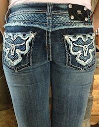Miss Me   Leather Bull Head Boot Cut Jean