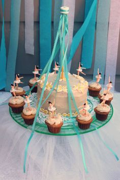 Swan Lake Maypole cake & cupcakes from Pen's party.