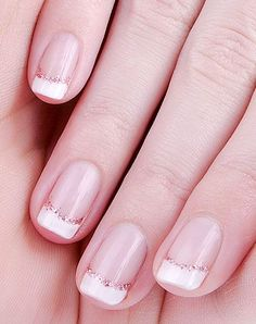 Short French manicure enhanced with glitter - Nail Art Gallery