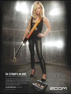 Donnas Allison Robertson Zoom Guitar Effects & Amp Simulator 8 x 11 ad print Guitar Girl, Guitar Amp, Female Rock Stars, Robbie Robertson, Guitar Magazine, Chelsea Girls, Pin Up Photos, Female Guitarist, Guitar Effects Pedals