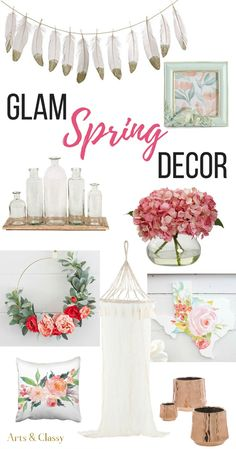 You'll love these gorgeous finds! These are my favorite glam spring decor items. Diy Home Decor On A Budget, Affordable Home Decor, Decorating On A Budget, Interior Decorating, Decorating Websites, Spring Home Decor, Spring Decorations, Glamour, Diy Décoration
