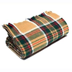 American-made 100% Wool Throw Blanket - Wheat Stewart Tartan 56