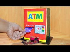 How to make piggy bank atm machine at home Kids Crafts, Diy Crafts For Kids, Crafts To Sell, Sewing Projects, Projects To Try, Lego Projects, Teen Wall Art, Smoothies, Craft Wedding