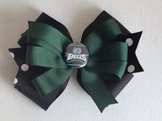Girls Philadelphia Eagles Football Hair Bow by MommysBowCreations, $6.00