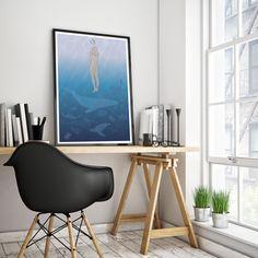 Printable Shower Illustration- Digital Art Sea- Instant Download Art by Jacxil on Etsy