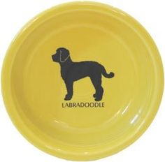 $20.00 Labradoodle dog bowl, Made in USA, Sunflower Yellow with breed image in Black,  Dishwasher nad Microwave safe,  Lead Free!,  holds 19 oz.,  HHH exclusive