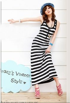 Fine Contrasting Color Stripes Button Front  Tank Style Maxi Dress White  Black on BuyTrends.com, only price $7.82