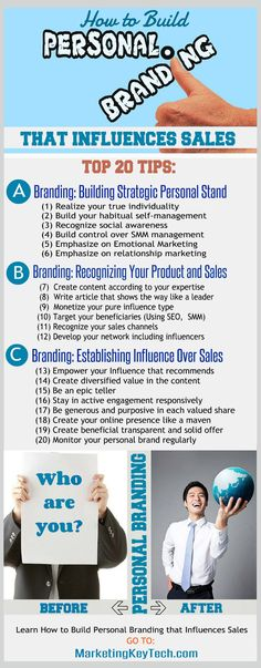 Personal branding infographics include top 20 tips. Every blogger, marketer, and small business owner need to learn how to build personal branding to influence their sales. Learn details visiting the blog.