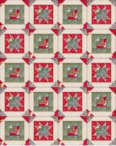 Scrappy Log Cabin Star | This pretty log cabin star quilt is great for using up any scrap fabric you have on hand!