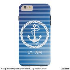 Manly Blue Striped Rope Circle Anchor Monogram Tough iPhone 6 Plus Case