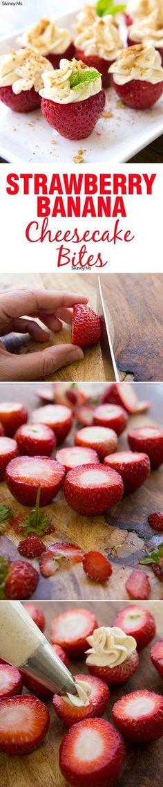 Gorgeous and delicious! Strawberry Banana Cheesecake Bites.