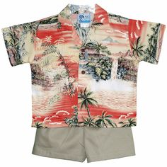 """Boy/'s loud Hawaiian shirt for 10 year old 36/"""" chest GREY palms// sunsets new"""