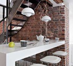 Decorare casa con i mattoni a vista - Mattoni a vista accanto scala