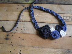 Black&Blu Denim Rose Necklace/Belt - this could also be a head band