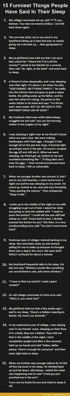 Sleeptalk stories. This is the funniest thing I've read in weeks!