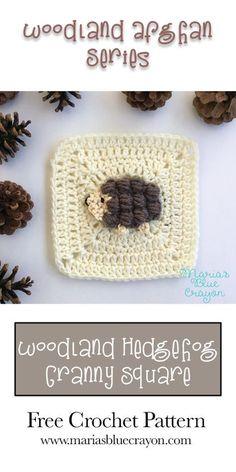 Hedgehog Granny Square – Woodland Afghan Series – Free Crochet Pattern – Maria's Blue Crayon – Granny Square Crochet Motifs, Crochet Blocks, Granny Square Crochet Pattern, Afghan Crochet Patterns, Crochet Squares, Crochet Granny, Free Crochet, Granny Squares, Granny Granny