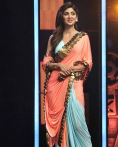Shilpa Shetty on the sets of 'Super Dancer'. #Bollywood #Fashion #Style #Beauty #Hot #Sexy #Saree