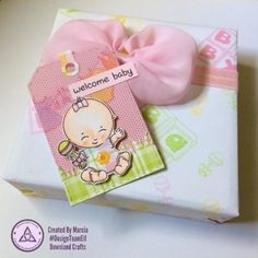I had fun creating this fun gift tag and customized gift wrap using Downland Crafts Baby Girl clear stamp set. Baby Girl Gift Sets, Welcome Baby, Clear Stamps, Gift Tags, New Baby Products, Best Gifts, Card Making, Paper Crafts, Gift Wrapping