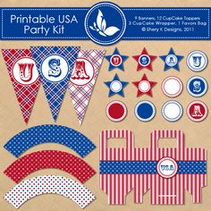 USA Party Kit  This listing is for printable 9 banners, 12 cupcake toppers, 3 cupcake wrappers, 1 favors bag and 1 font.    The dimensions:    Single Banner: 5 x 7.5 inch  Cupcake Topper: stars 2.5 x 2.5 inch, circles 2 x2 inch  Cupcake Wrapper: 1.75 inch height  Favors bag: 3 x 1.5 x 5.5 inch    The files are in PNG 300 DPI and to be printed on 11 x 8.5 inch size paper.    Simply print the file on white card stock, cut the templates out and fold.