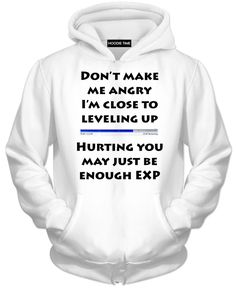 Angry Level Up EXP White Hoodie - Funny Gaming Hoodies and Clothing