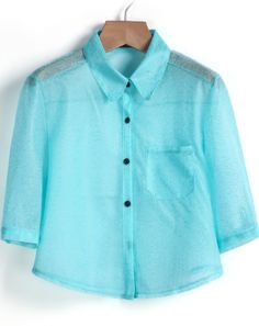 Blue Lapel Half Sleeve Pocket Crop Blouse - Sheinside.com