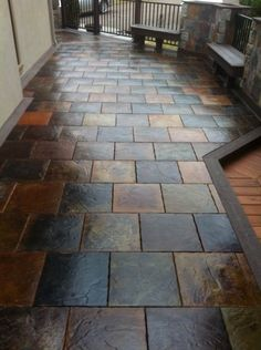 concrete slab with pavers overlay home ideas Pinterest