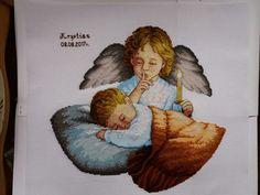Haft krzyżykowy, pamiątka Chrztu Świętego, metryczka, anioł, śpiące dziecko