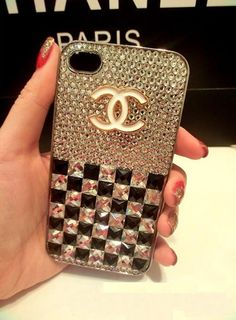 white and black crystal chanel iphone cover