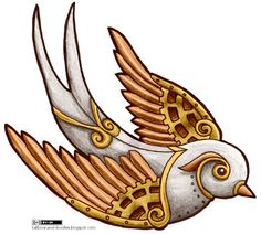 steampunk swallow tattoo design