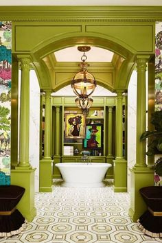 An outstanding colorful interior. Transform your bathroom into freshness and light with the simple greenish-yellow color!